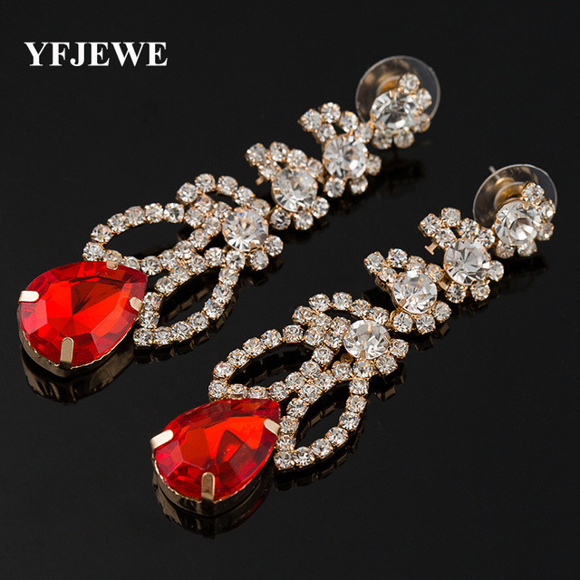 YFJEWE four-color sparkling crystal earrings women s fashion accessories  ear jewelry authentic popular decorative stones 1622bda7251b