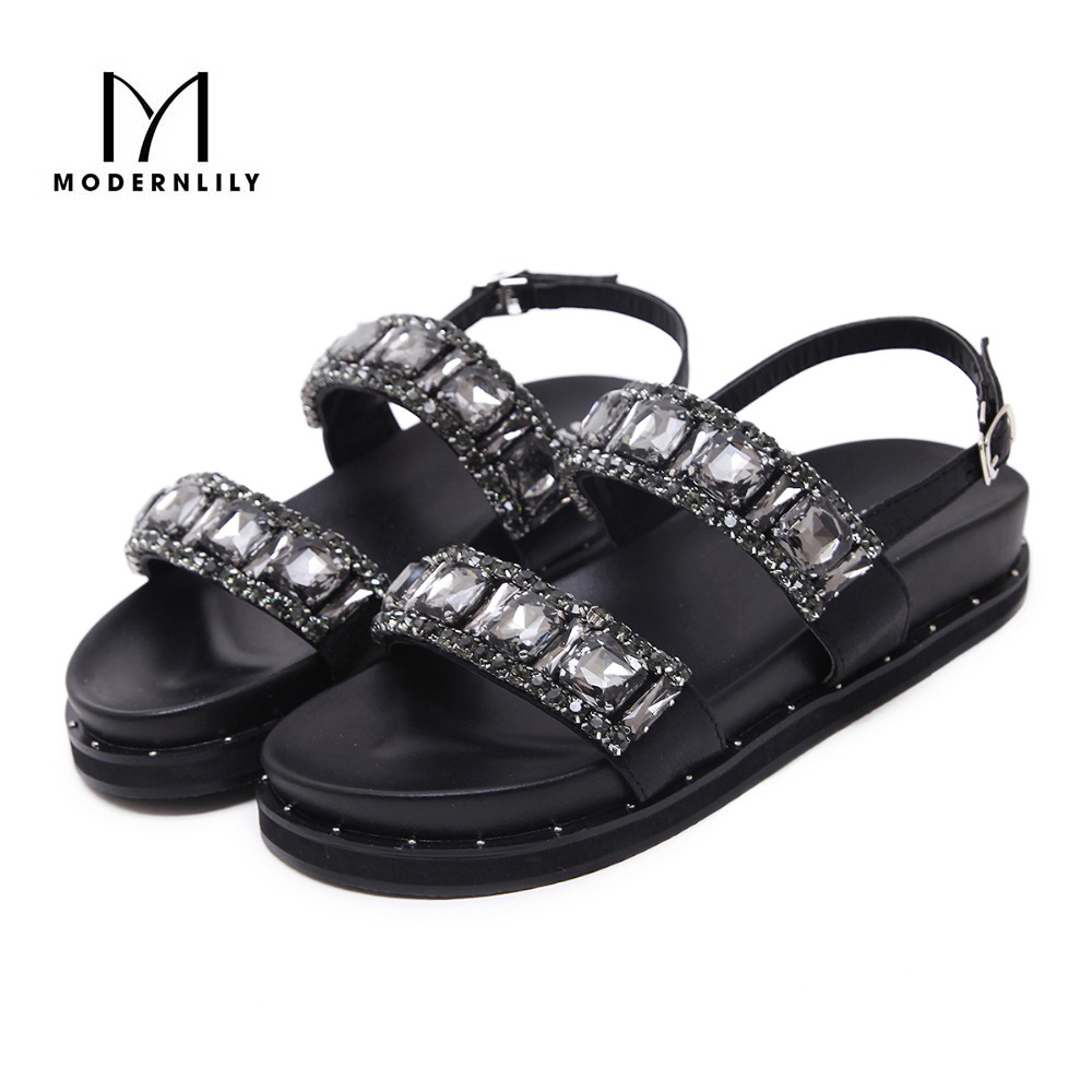 Black sandals bling - Summer Shoes Women S With Flats Soles Sandals Bling Bling Crystal Shoes Women Zapatos Mujer Chaussure Femme