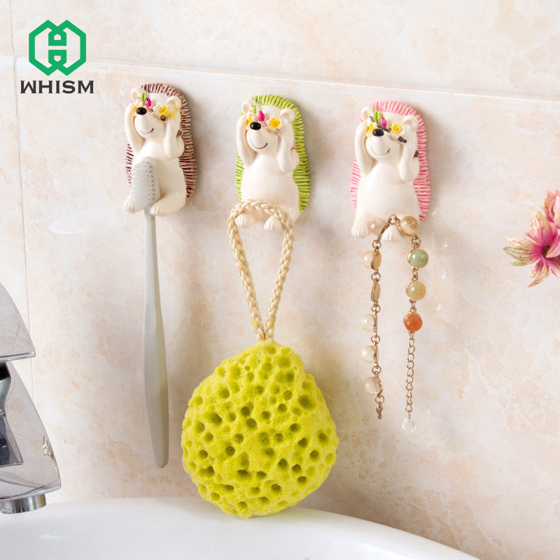 WHISM Resin Shy Hedgehog Toothbrush Suction Holder Wall Mount Plug Socket Organizer Sundry Key Hook Kitchen Bathroom Wall Hanger