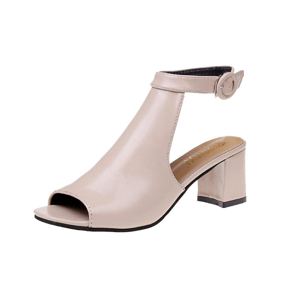 Ladies Sandals Ankle High Heel Block Party Open Toe Shoes Thick Heel Fashion Hollow Women Party Wedding PumpsLadies Sandals Ankle High Heel Block Party Open Toe Shoes Thick Heel Fashion Hollow Women Party Wedding Pumps