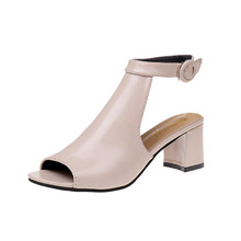 Ladies Sandals Ankle High Heel Block Party Open Toe Shoes Thick Heel Fashion Hollow Women Party Wedding Pumps