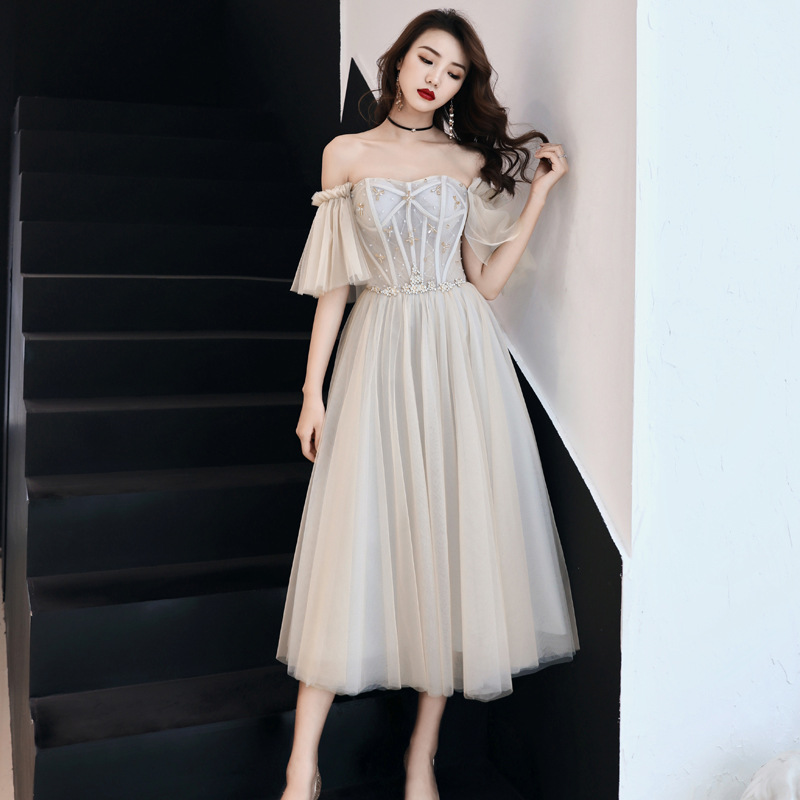 Rhinestone Exquisite Women Mesh Dress Elegant Bride Wedding Party Cheongsam Flare Sleeve Retro Gown Off Shoulder Robe De Soiree