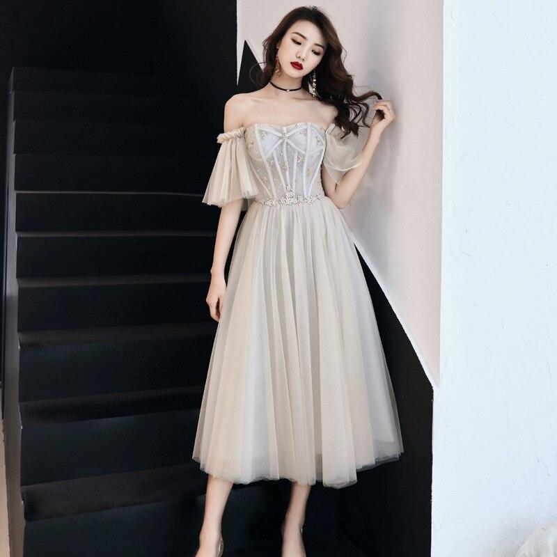 Rhinestone Exquisite Women Mesh Dress Elegant Bride Wedding Party Cheongsam Flare Sleeve Retro Gown Off Shoulder Robe De Soiree