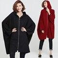 Плюс Размер 5XL 6XL 2016 Осень Зима Женщины Мода Длинные Batwing пиджаки Топы Женщина Леди Большой Свободные Полосой Печати Хлопка Пальто Куртки