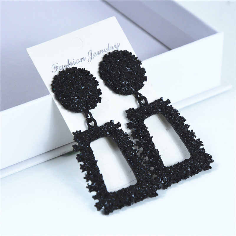 Ufavoirte New Elegant Big Vintage Metal Earrings for Women black Color Geometric Statement Drop Earring Hanging Fashion Trend