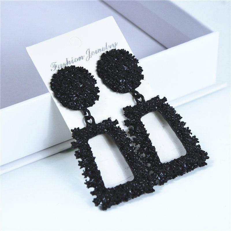 Ufavoirte New Elegant Big Vintage Metal Earrings for Women black Color Geometric Statement Drop Earring Hanging Fashion Trend