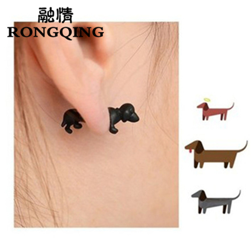 RONGQING 1pair New Fashion Earrings Punk Gothic Jewelry 3D Animal Pet dachshund Earrings for Punk Men