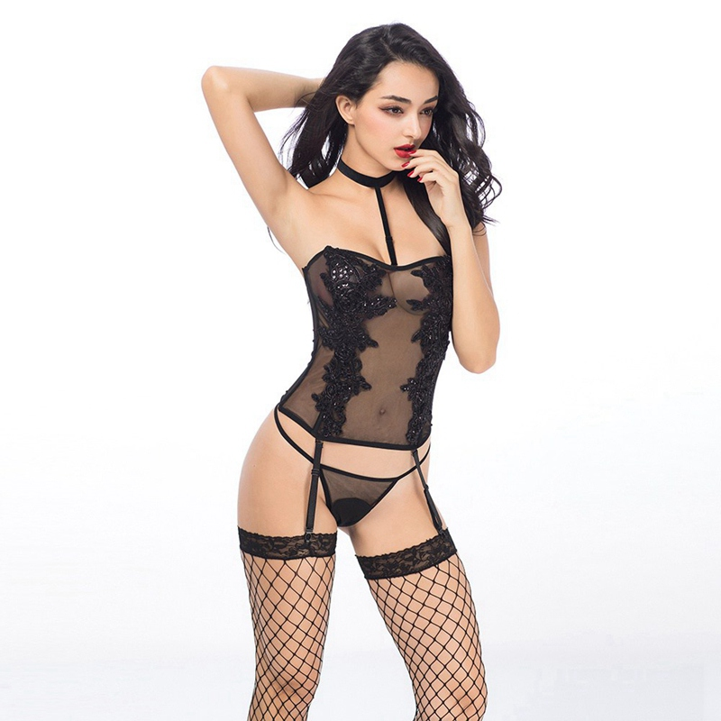 Women Sexy Fishnet Lingerie Sequin Decoration Halter Top And Thong Stockings Transparent Sexy Underwear 6935
