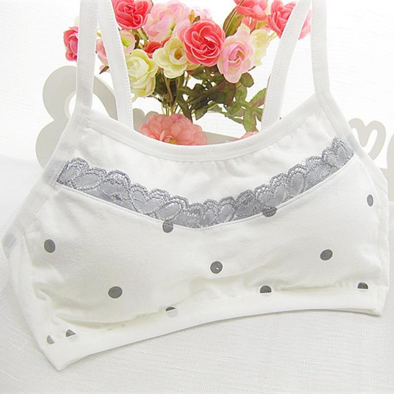 Teens Cotton Lace Puberty Girls Bra Sports Underwear for Teenager White Print Girl Training Bra Children Kids Underwear Clothing(China)