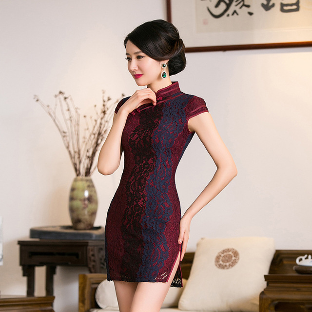 TIC-TEC chinese traditional dress women cheongsam short qipao vintage lace purple elegant oriental dresses wedding clothes P2855