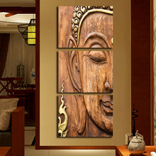 Wall Artwork Pictures HD Printed Decoration Posters 3 Panel Golden Buddha Modern Painting On Canvas Home Framework Living Room