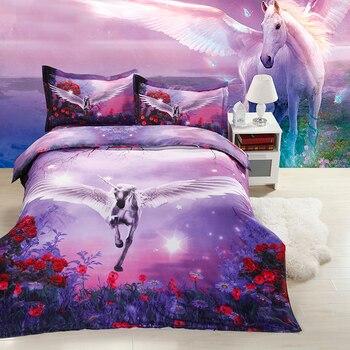 hot sale 3D flying unicorn horse animal twin king full double bedclothes pillowcase duvet cover set bedding set