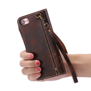 Image 5 - Funda tipo Cartera de piel auténtica Natural para iPhone 6, 6S, 7 Plus, funda para teléfono, Retro, Vintage, con cierre