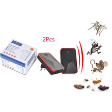 2Pcs Electronic Ultrasonic Insect Control Anti Mosquito Repeller Repellent For Mouse Cockroach Rat Pest Rejection Reject