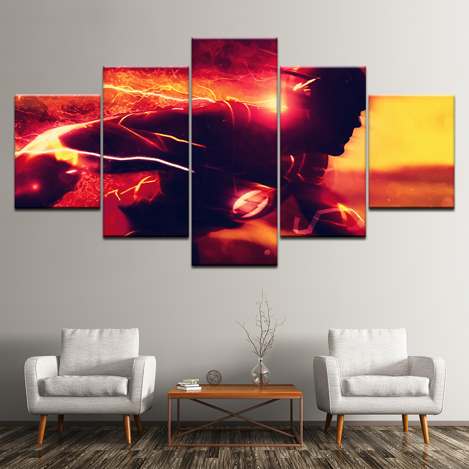 Oil Canvas Painting Wall Art Home Decor Frame For Room Pictures 5 Panel Flash Comics Superhero Movie Modern Print Poster Artwork in Painting Calligraphy from Home Garden