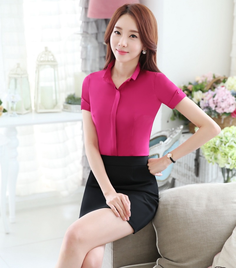 Novelty Rose Slim Fashion OL Styles 2016 Summer Professional Work Suits With Tops And Skirt Business Women Female Outfits Set