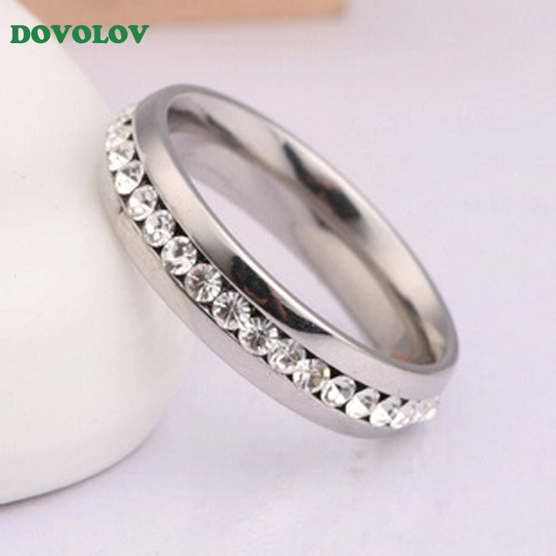 Dovolov Single Row Crystals Wedding Ring For Women Classical Mini Cubic Zirconia Rose Gold Color Rings Jewelry A515