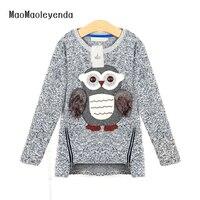 2018 herfst nieuwe mode meisjes truien kids fleece gevoerde rits truien cartoon leuke uil casual katoen meisjes trui