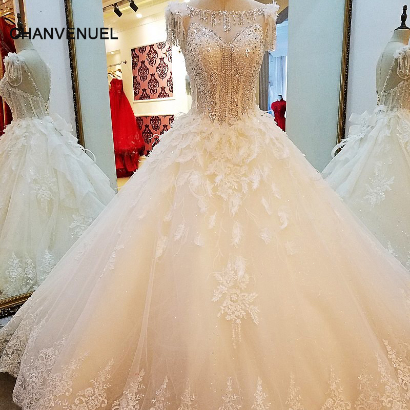 LS06722 Ivory Champagne Wedding Dress Ball Gown Lace Up
