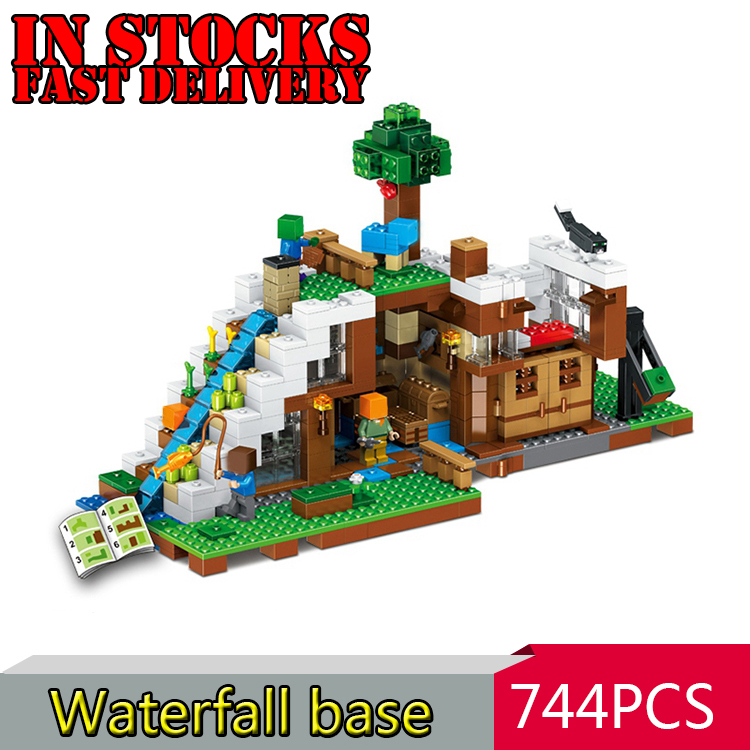 LELE 33052 744pcs My World Minecraft The Waterfall Base Building Blocks Bricks anime action figures Toys For Children gifts plants vs zombies garden maze struck game building blocks bricks like figures minecraft toys for children gift b11