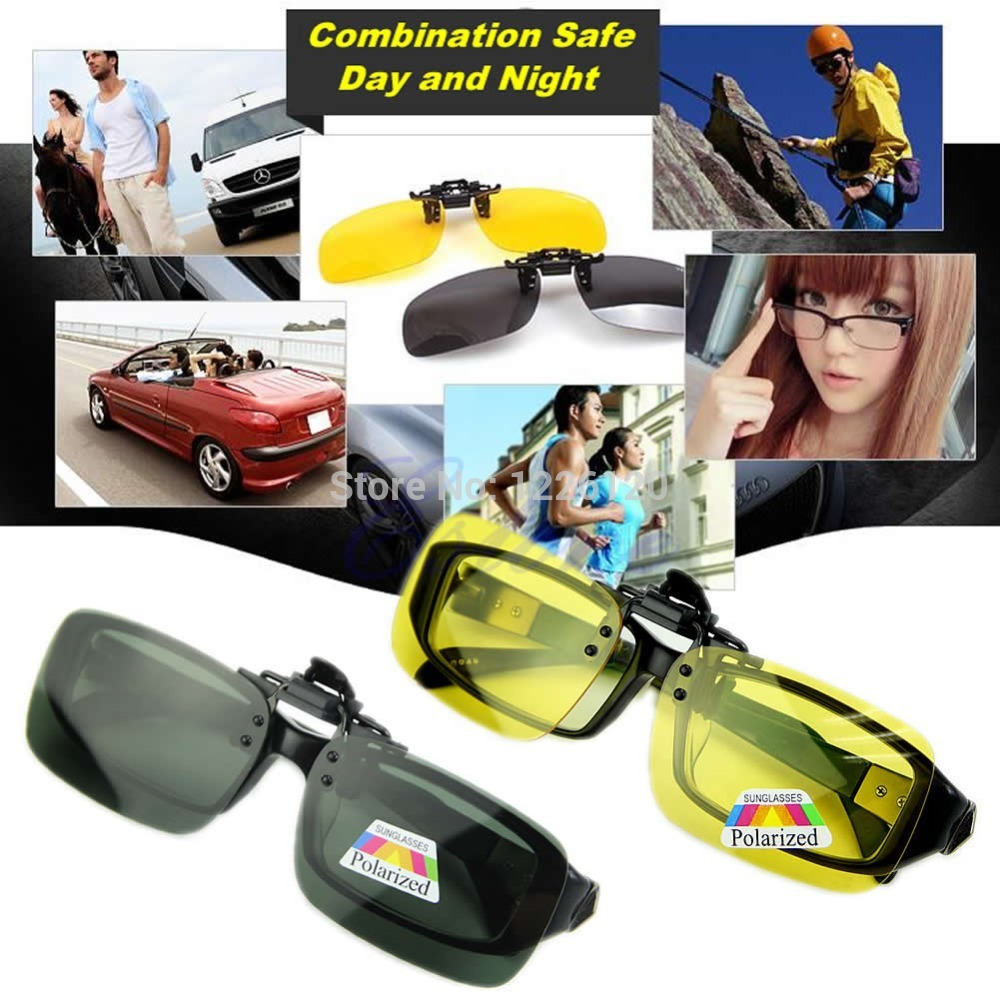 HOT Glasses Day Night Vision Flip-up Clip-on Lens Driving Sunglasses