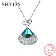 цена SHEON Authentic 925 Sterling Silver Dazzling Crystal Dancer Skirt Necklaces & Pendants for Women Sterling Silver Jewelry Gift в интернет-магазинах