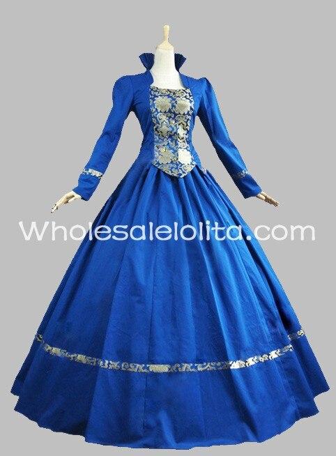 Королевский синий хлопок и парчовый Готический викторианское платье историческое платье