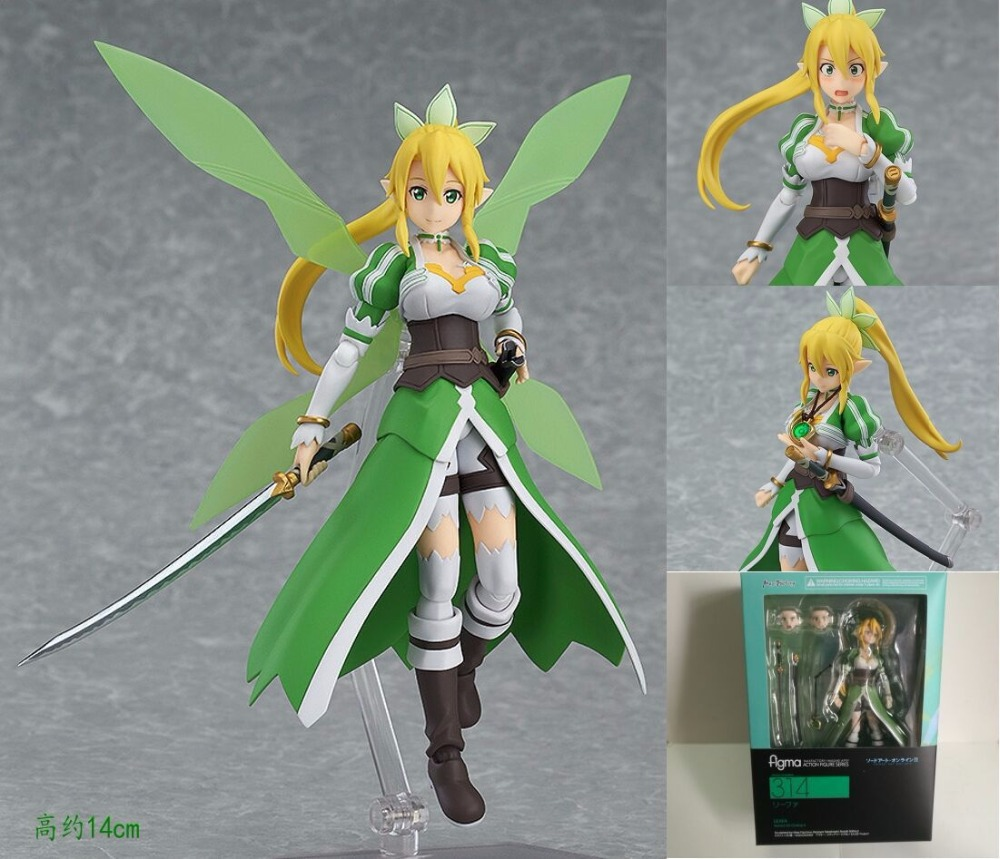 Anime Sword Art Online Figma 314 LEAFA Kirigaya Suguha PVC Action Figure Collection Model Kids Toys Doll 14cm SWAF004 sword art online alover kirigaya kazuto figma 289 figurine pvc action figures juguetes collection model kids toys