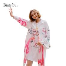 2019 Spring thin coats cartoon flamingo print long coats women loose coats недорого