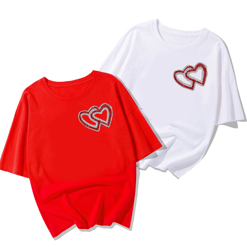 Double Heart Exquisite Rhinestone Stickers Heat Transfers For Clothes DIY Embroidery Applique For T-shirt Clothing Decor (3)