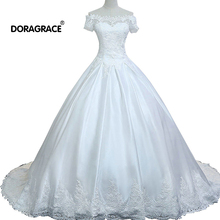 Doragrace Custom Made Real Picture Ball Gown Lace Applique Wedding Plus Size Dresses