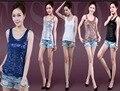 2016 nueva camiseta del verano para mujeres más el tamaño de la sequnie paillette mujer camisola sin oro, plata. blanco, negro, azul S ~ 3xl, 4XL