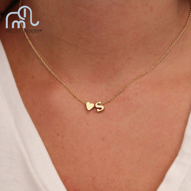 d787c5aaa2e PrelifeMemory Custom Personalized Initial Letter Words Women's Chain  Necklaces Gold Heart Pendant Charm Necklace Women's Jewelry