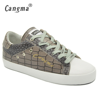 CANGMA Designer Shoes Sneakers For Girls Alligator Female Khaki Shoes Footwear Genuine Leather Womens Luxury Low Flats