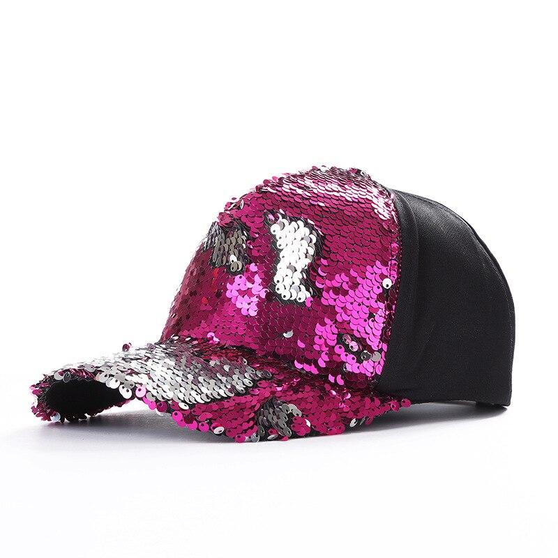 2018 Bicolor sirena lentejuelas gorras de béisbol mujeres malla  transpirable sombreros señoras ajustable Hip Hop Dad Cap hombres Snapback  sombrero en Gorras ... 2497be18160