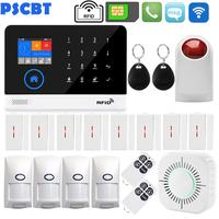 PSCBT WIFI GSM Signaling Security Alarm System APP IOS Android Control for residential house guard burglar alarm french Italian
