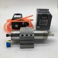 800 w 220 v 24000 rpm ER11 65mm Motor Spindle Refrigerado A Água + 1.5kw inversor VFD + 75 w bomba de água kit de suporte da Braçadeira Para CNC Engraving