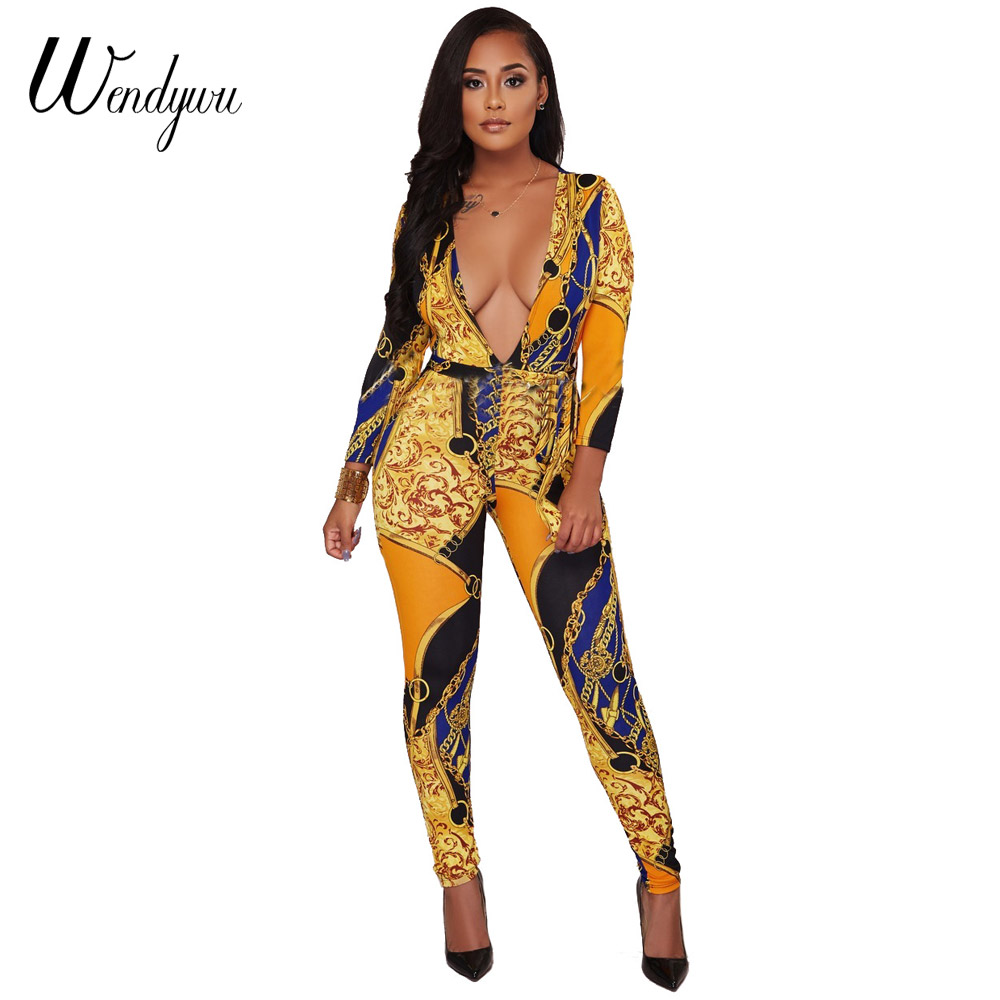 08d54f02feca Wendywu New Design Sexy Deep V-Neck Wrist Sleeve Chain Printed Yellow Bodycon  Long Jumpsuit
