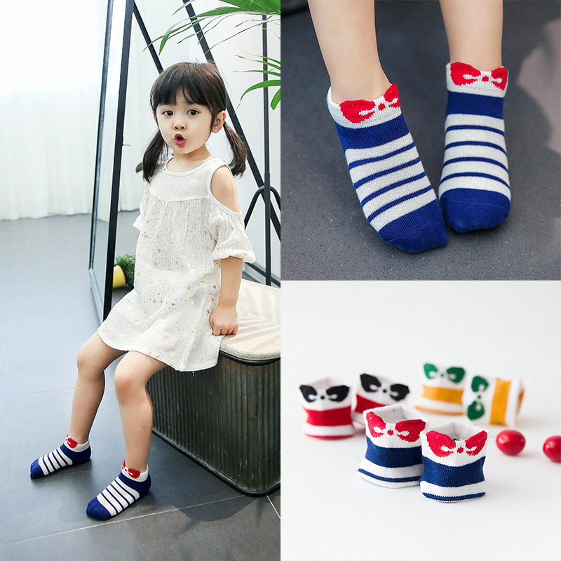 1 bag = 3 pairs of cute baby socks socks New cotton striped three-dimensional bow boat socks Princess socks 1-3 years old baby
