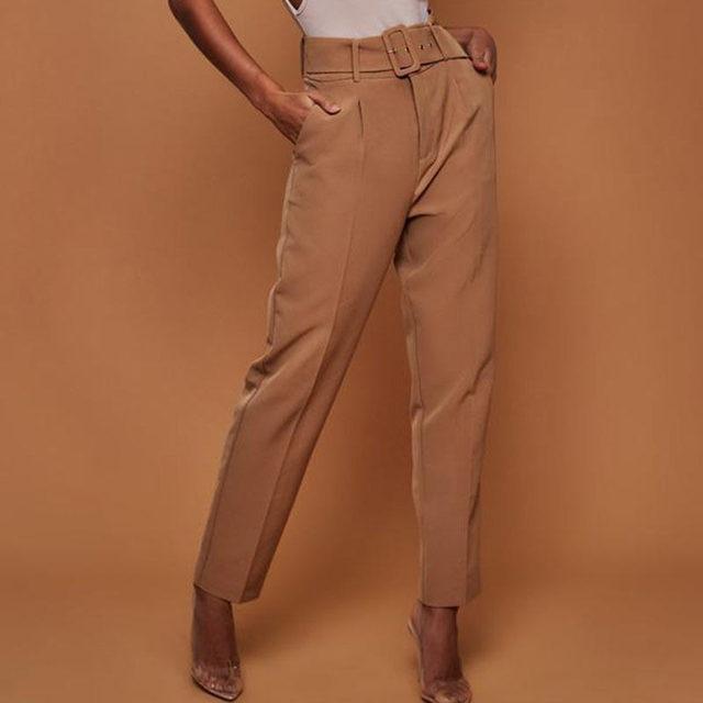 Casual Pants High Waist Autumn Belted Straight Leg Slacks Office Lady Suit Pants Women Trousers 2