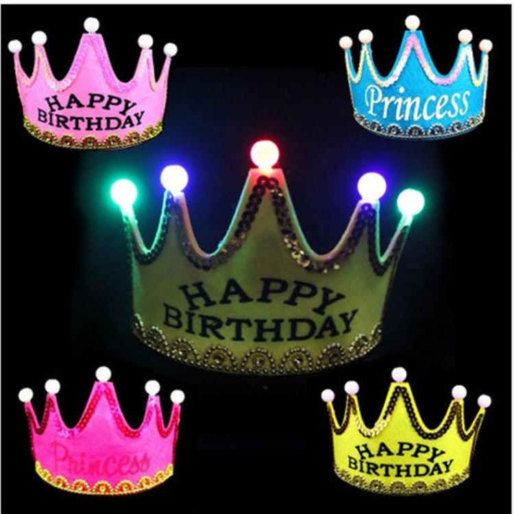 Happy Birthday Princess Queen Crown Led For Kids-in Hair