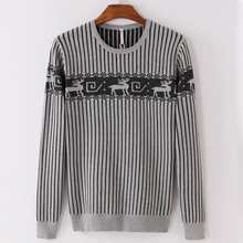 PORT&LOTUS Men Sweater Striped Pullover Brand Clothing O-Neck Print Long Sleeve Pullovers Sweaters LSLSQF1535