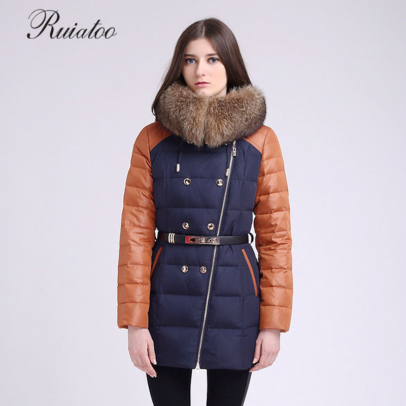 Raccoon fur collar 2017 new long coat female winter warm good coat thickening splicing popular cotton clothing women's clothing 2017 winter new clothes to overcome the coat of women in the long reed rabbit hair fur fur coat fox raccoon fur collar