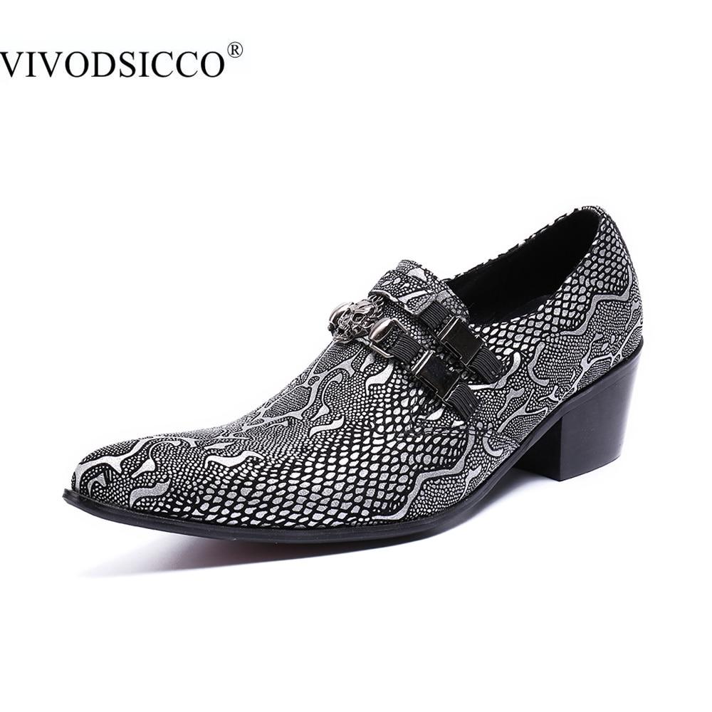 купить VIVODSICCO New Business Luxury Men Dress Shoes Man Genuine Leather Wedding Shoes Social Sapato Male Oxfords High Heels Shoes недорого