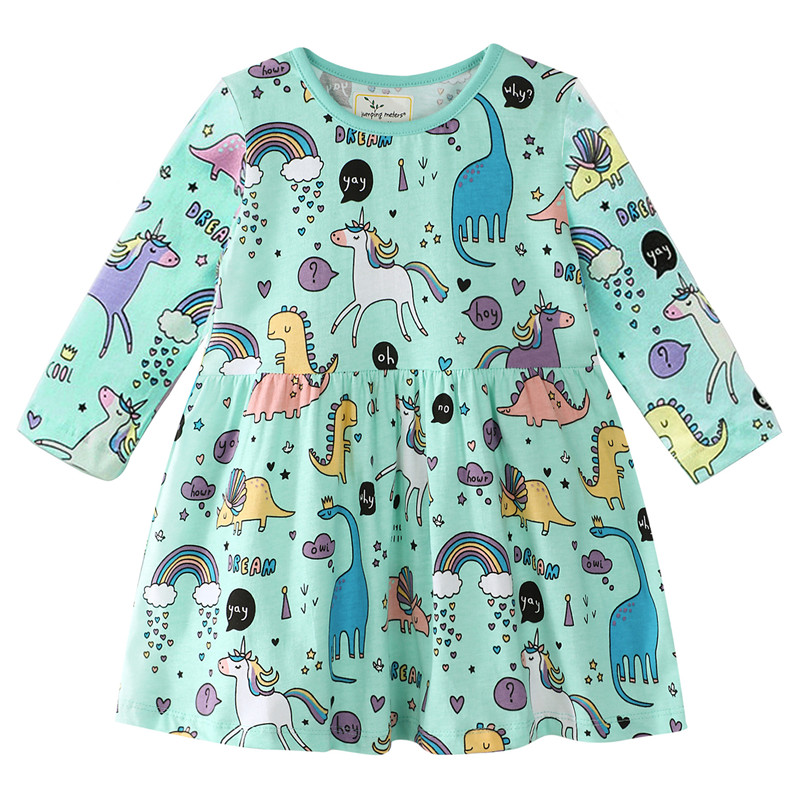 Jumping meters unicorn baby dresses for kids girls cotton clothes autumn princess animals long sleeve girl dresses with unicorns