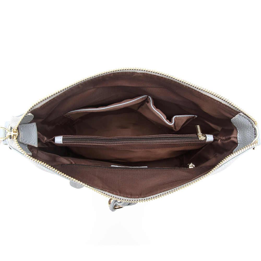 حقيبة كتف نسائية عصرية جديدة من زنسي بشراشيب معدني 100% جلد أصلي للسيدات عبر الجسم حقيبة يد أنيقة للهدايا باللون الأبيض