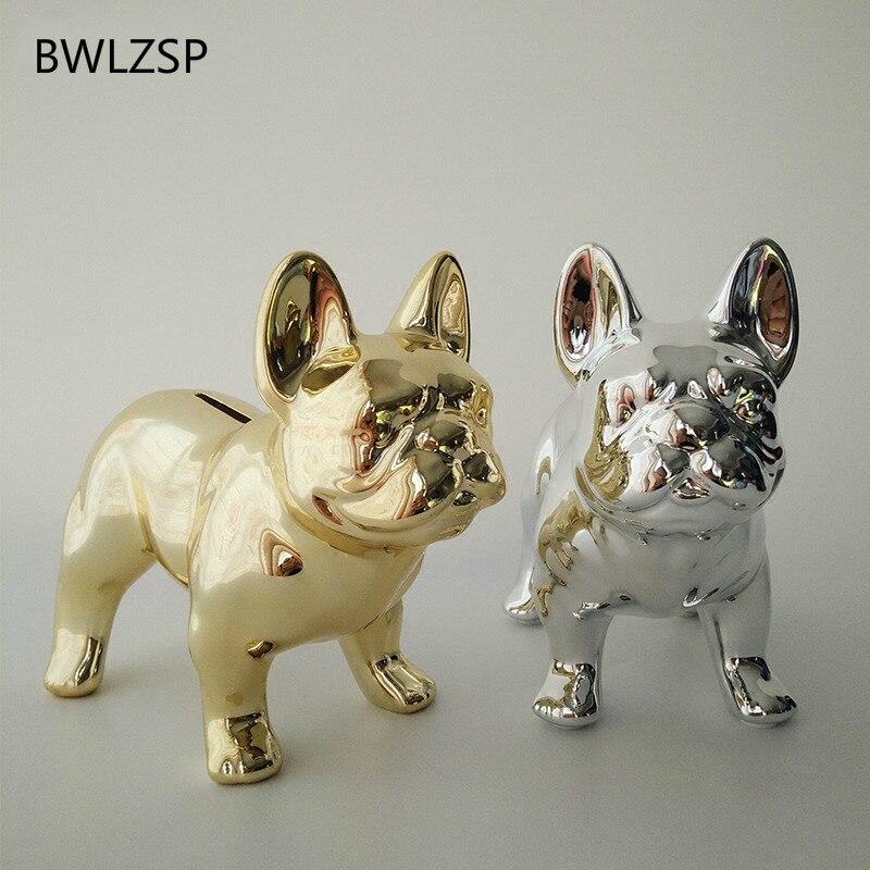 BWLZSP European Creative French Bulldog Ornaments Desktop Plating Ceramic Cute Piggy Bank Living Room Decoration  AP4251440