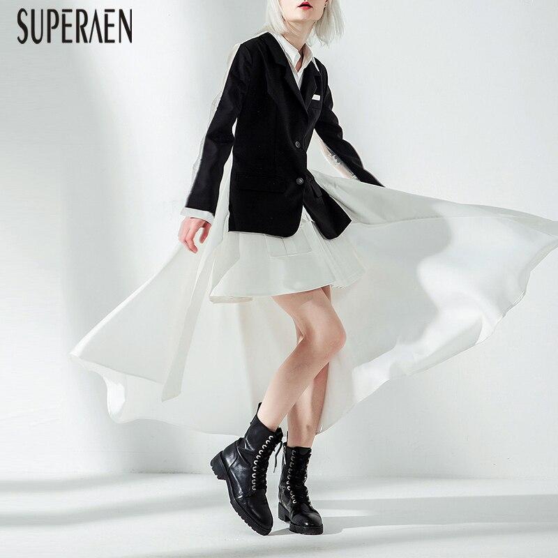SuperAen Europa Mode Frauen Anzug Jacke Asymmetrische Frühling und Herbst Neue Jacke Weibliche 2019 Gefälschte Zwei stück Frauen Kleidung-in Basic Jacken aus Damenbekleidung bei  Gruppe 1