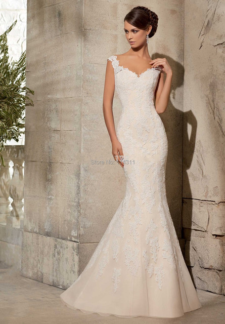 Us 189 99 Sexy Sheer Mermaid Wedding Dresses 2016 Detachable Sash Train Beaded Sequins Lace Appliques Champagne Inside White Long Vestidos In