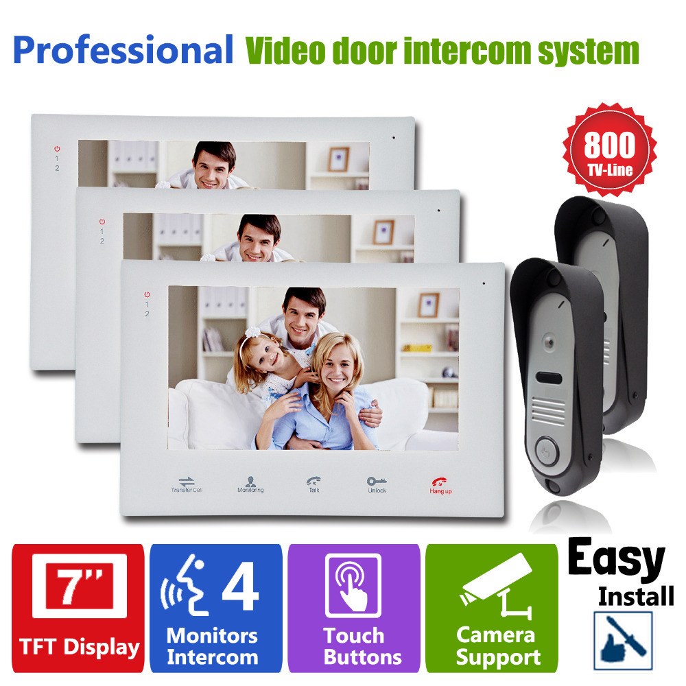 Homefong7LCD Touch Key Monitor  Video Door Phone Intercom System with IR Camera with Doorbell Home Entry Intercom Night Vision jeatone 7 touch screen tft lcd monitor video door phone intercom system with night vision hd outdoor camera for home security